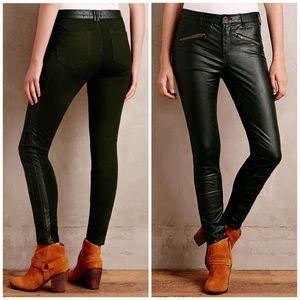 Anthropologie Pilcro Green Vegan Leather Moto Pant